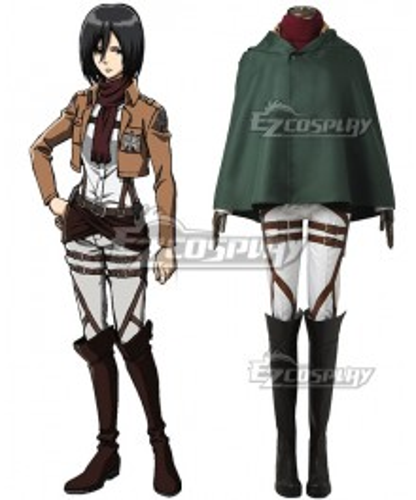 Attack on Titan Shingeki no Kyojin Mikasa Akkaman Mikasa Ackerman 104th Cadet Corps Cosplay Costume - No Boots