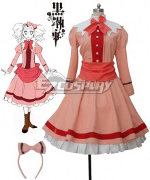 Black Butler II Kuroshitsuji Elizabeth Midford Liz Orange Lolita Long Dress Cosplay Costume