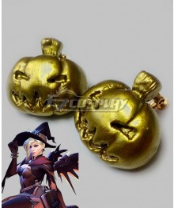 Overwatch OW Mercy Angela Ziegler Witch Skin Pumpkin Earring Ear Clip Cosplay Accessory Prop