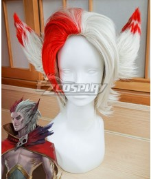 League of Legends LOL Rakan Red White Cosplay Wig