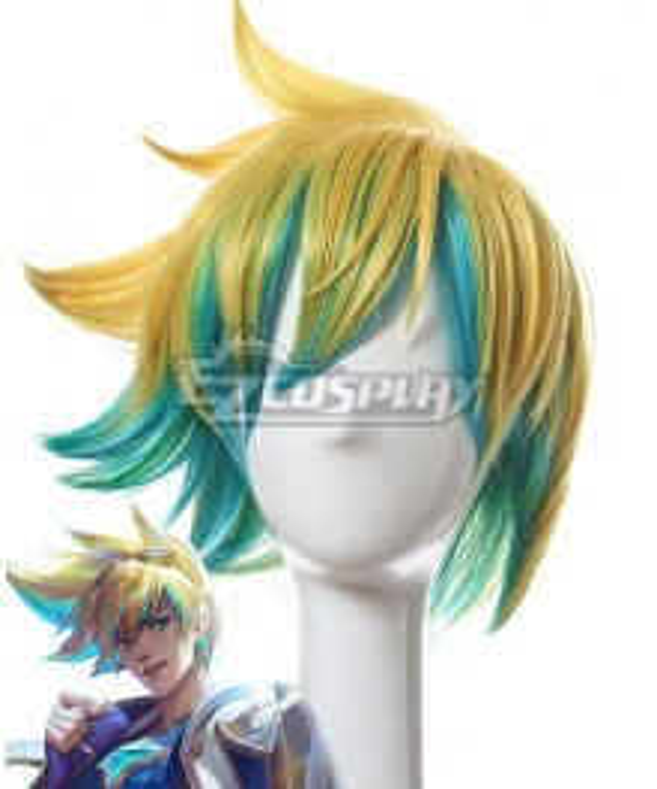 League of Legends LOL Star Guardian Ezreal Golden Blue Cosplay Wig