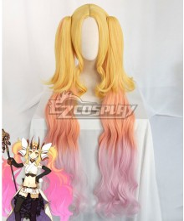 Fate Grand Order Lancer Ibaraki Douji Stage 3 Golden Orange Pink Cosplay Wig