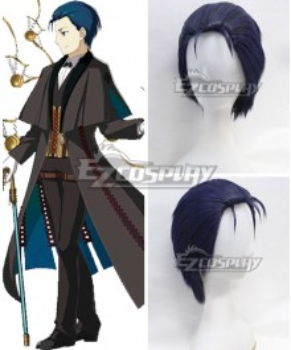 Fate Grand Order Ruler Sherlock Holmes Crutch Dark Blue Cosplay Wig