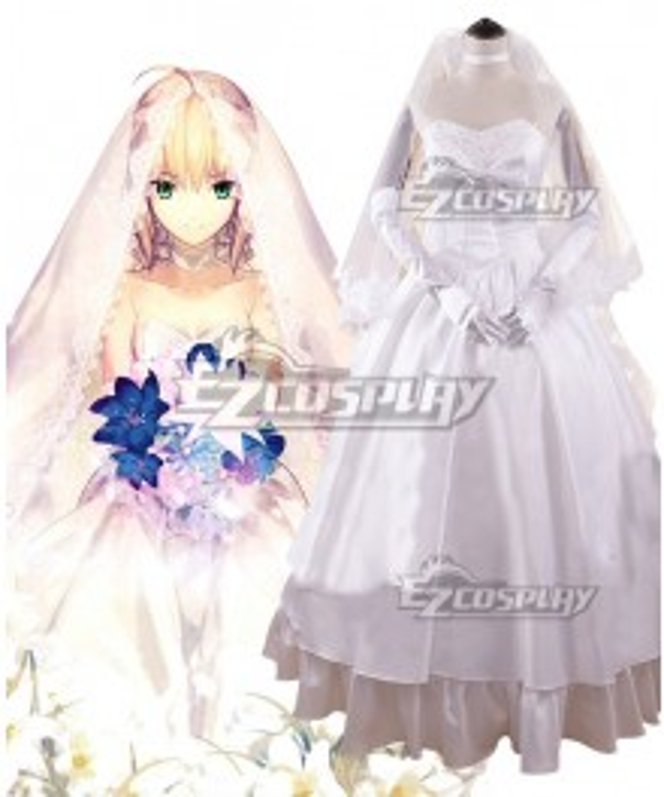 Fate Grand Order Saber Artoria Pendragon The Tenth Anniversary Wedding Dress Cosplay Costume