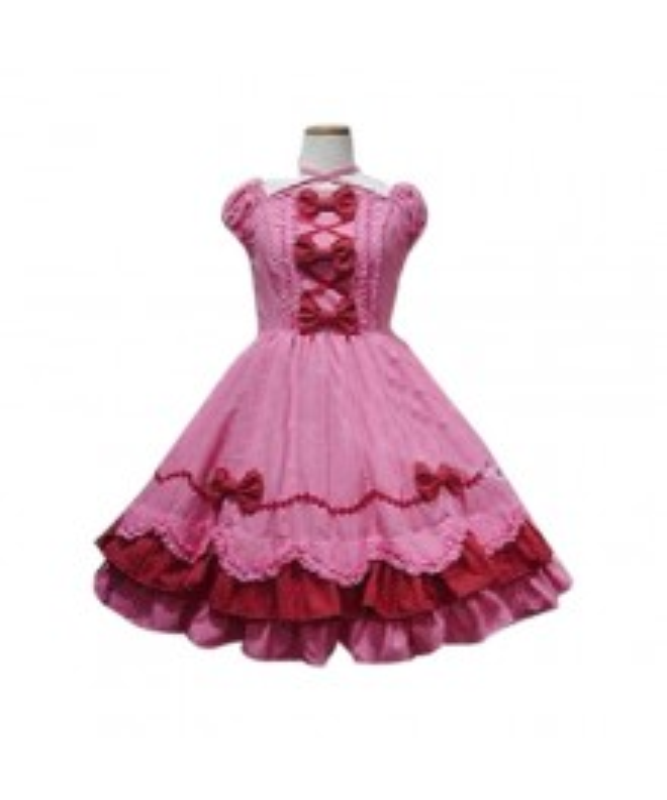 Peach Bow Princess Dress Lolita Cosplay Costume