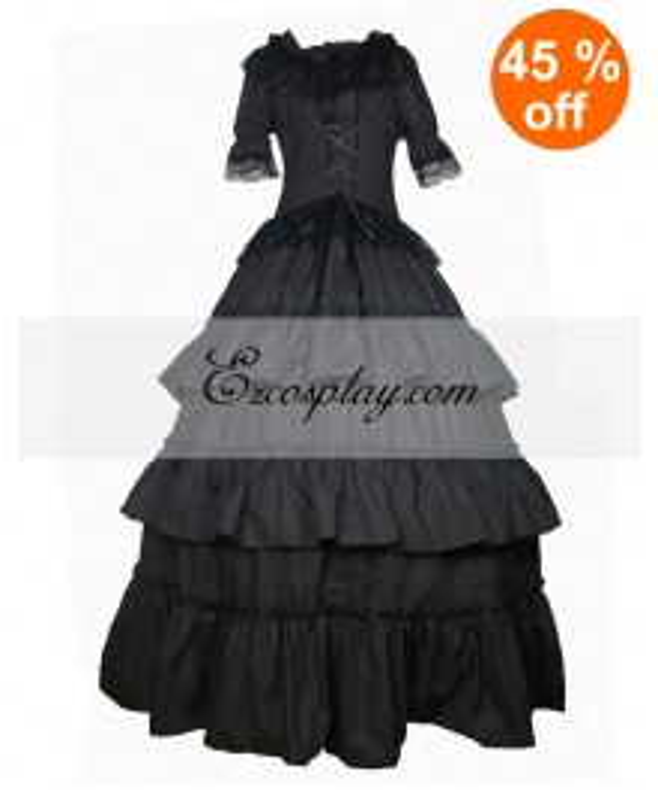 Cutton Black Short Sleeve Gothic Lolita Dress