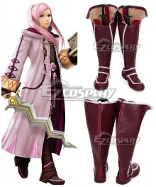 Fire Emblem: Awakening Female Robin Rhonda Black Pink Shoes Cosplay Boots