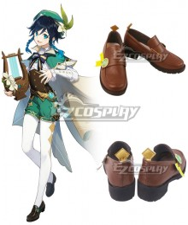 Genshin Impact Venti Brown Cosplay Shoes