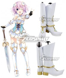 Hyperdimension Neptunia Neptune White Golden Shoes Cosplay Boots