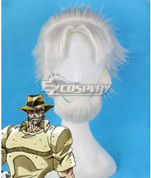 Jojo'S Bizarre Adventure: Stardust Crusaders Joseph Joestar White Cosplay Wig - Including Mustache and Wig