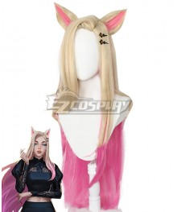 League Of Legends LOL 2020 KDA K/DA Ahri Golden Pink Cosplay Wig - Wig + Ears + Headwear