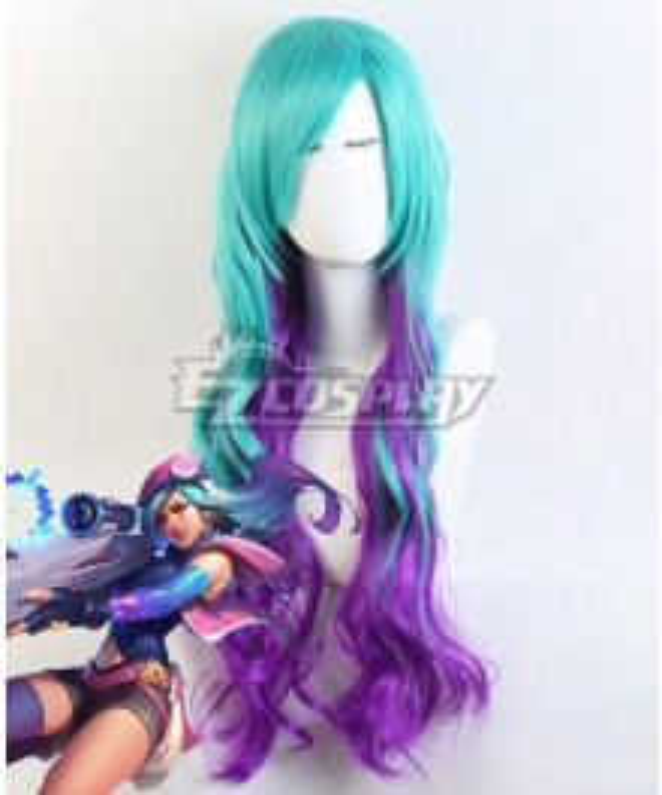League Of Legends LOL Arcade Caitlyn Blue Purple Cosplay Wig