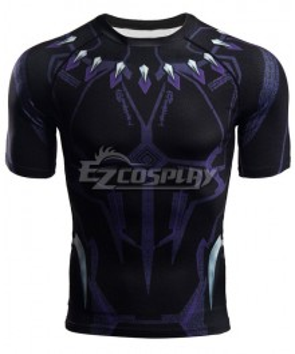 Marvel Avengers 4: Endgame T'Challa Black Panther Short T-Shirt Cosplay Costume