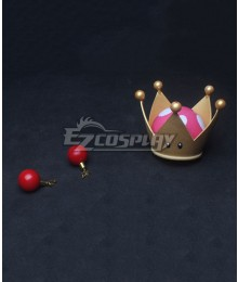 New Super Mario Bros. U Deluxe Toad Ghost Princess Bowsette Crown and Earrings Cosplay Accessory Prop
