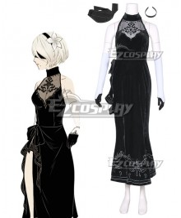 NieR: Automata 2B YoRHa No. 2 Type B Evening Dress Cosplay Costume
