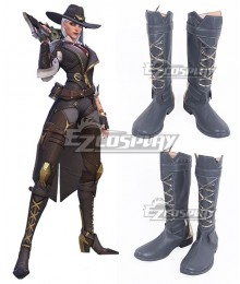 Overwatch OW New Hero Ashe Gray Shoes Cosplay Boots