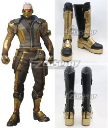Overwatch OW Soldier 76 John Jack Morrison Golden Shoes Cosplay Boots