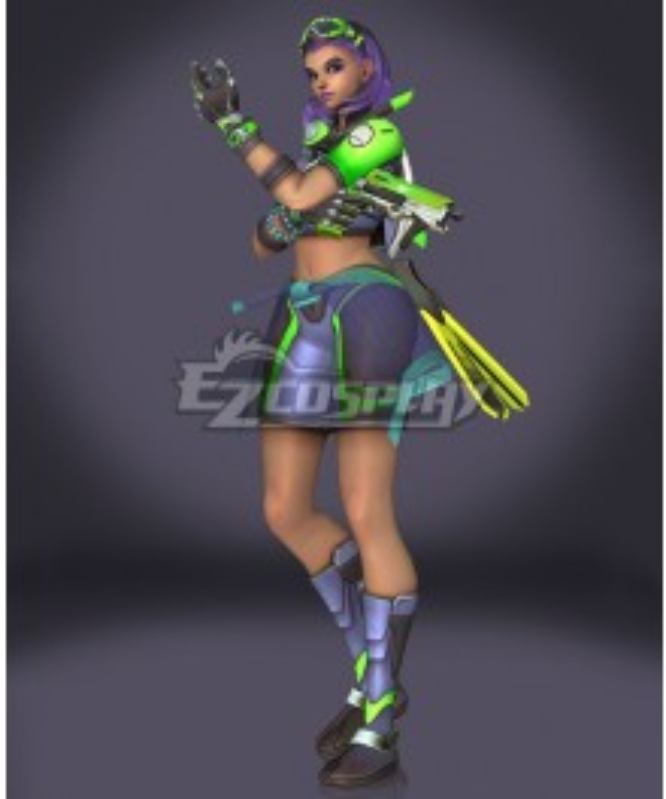 Overwatch OW Sombra Summer Skin Cosplay Costume