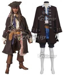 Pirates of the Caribbean Captain Jack Sparrow Cosplay Costume - New Edition