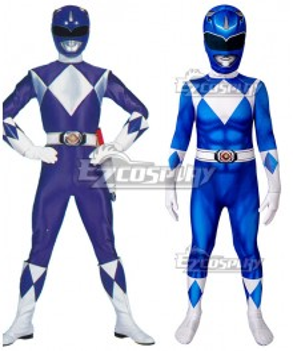 Kids Power Rangers billy blue ranger Zentai Jumpsuit Cosplay Costume