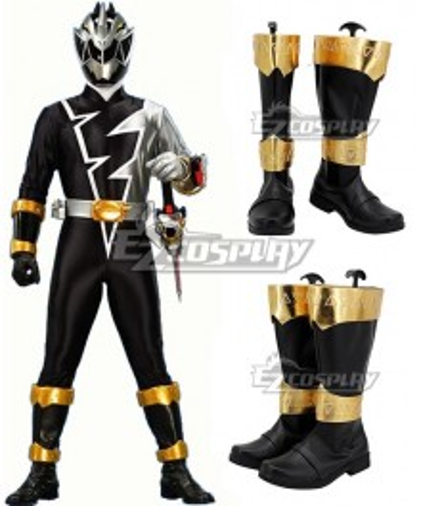 Power Rangers Dino Fury Black Ranger Black Shoes Cosplay Boots