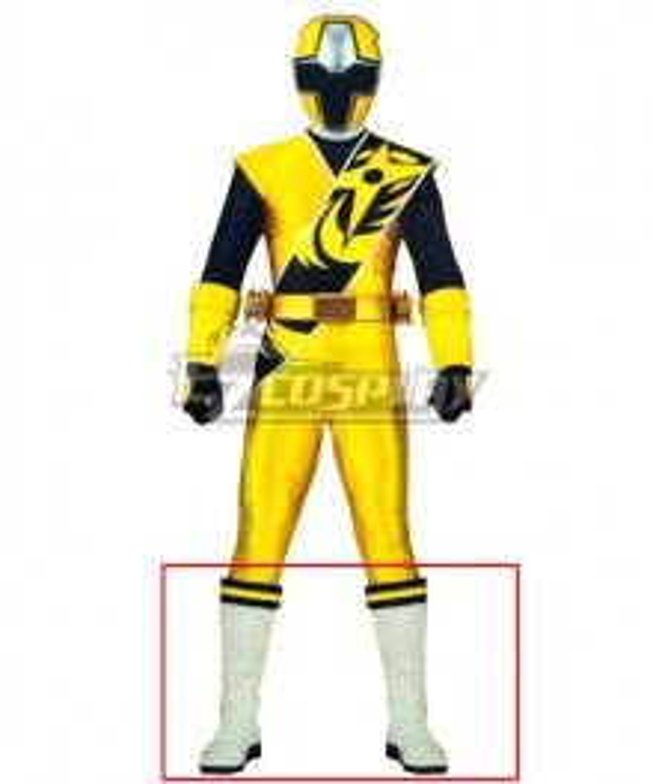 Power Rangers Ninja Steel Ninja Steel Yellow White Shoes Cosplay Boots