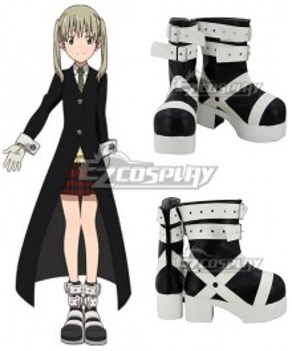 Soul Eater Maka Albarn Black White Shoes Cosplay Boots