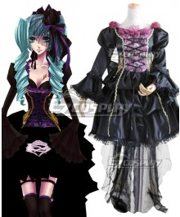 Vocaloid Hatsune Miku Black Lolita Dress Cosplay Costume