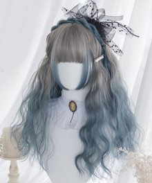 Japan Harajuku Lolita Series Cute Double Horsetail Grey Blue Cosplay Wig
