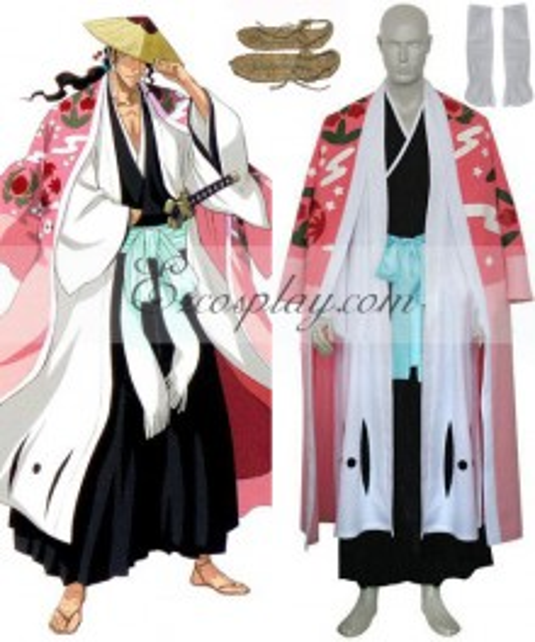 Bleach 8th Division Captain Kyouraku Shunsui Black Cosplay Costume