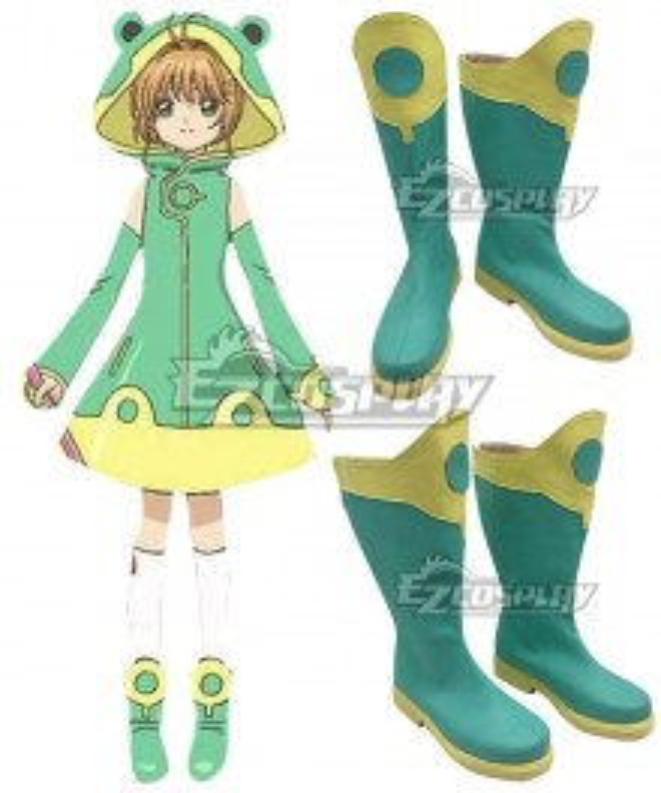 Cardcaptor Sakura: Clear Card Sakura Kinomoto Frog Battle Suit Green Shoes Cosplay Boots