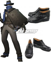 Overwatch OW Jesse McCree Mystery Man Black Cosplay Shoes