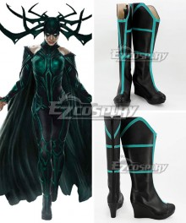 Marvel Thor 3 Ragnarok Trailer Hela Black Shoes Cosplay Boots - B Edition