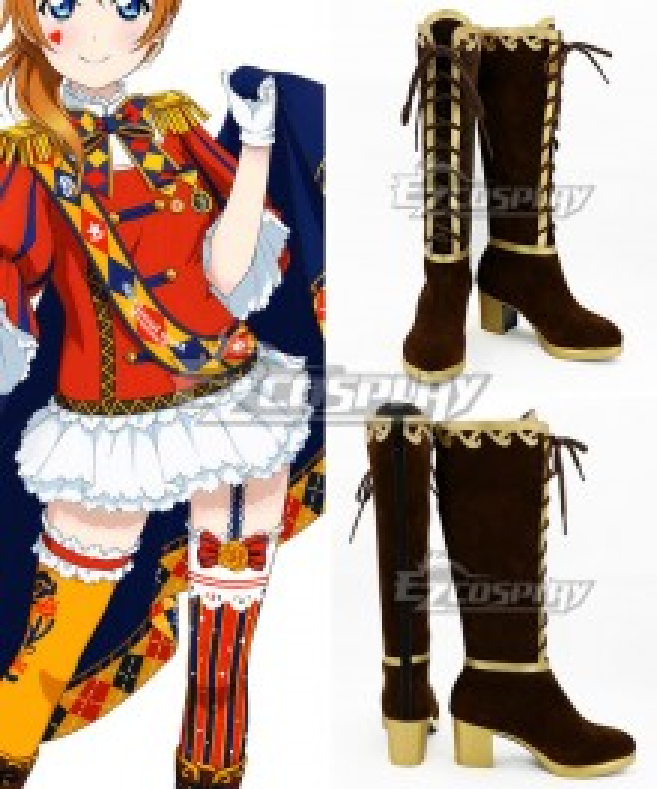Love Live! School Idol Tomodachi Magician Cards Kousaka Honoka Brown Shoes Cosplay Boots