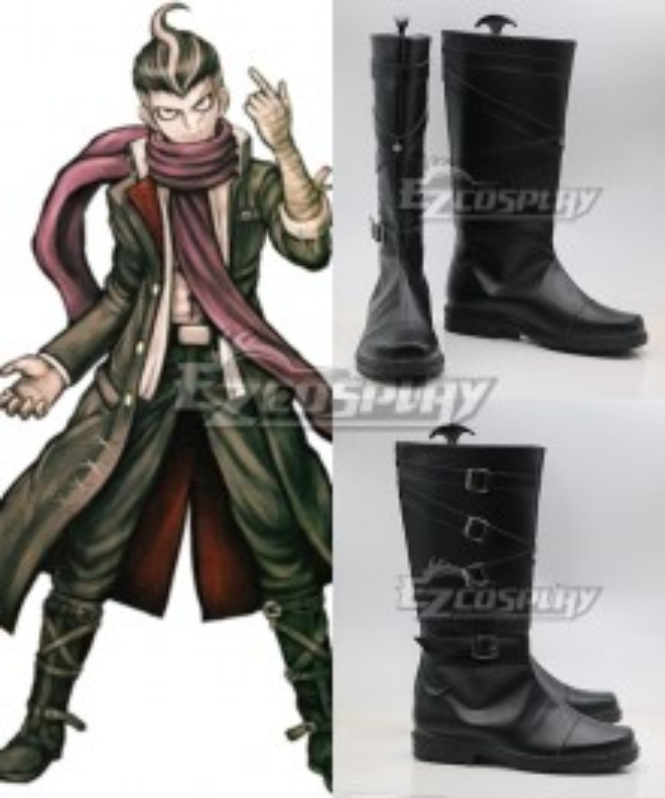 Danganronpa: Trigger Happy Havoc Gundham Tanaka Black Shoes Cosplay Boots