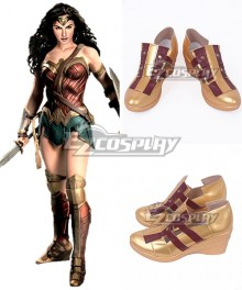 DC Wonder Woman 2017 Movie Diana Prince Red Golden Cosplay Shoes