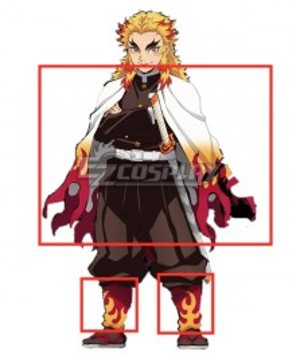 Demon Slayer: Kimetsu No Yaiba Rengoku Kyoujurou Cosplay Costume -Only Cloak and Leg wear