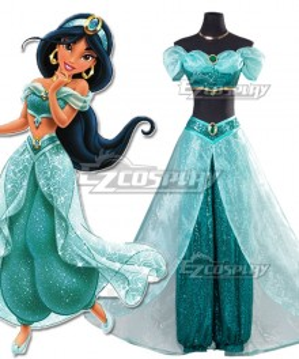 Disney Aladdin Princess Jasmine Dress Cosplay Costume - New Edition