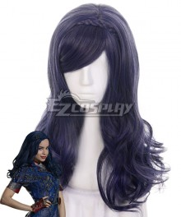 Disney Descendants 2 Evie Black Blue Cosplay Wig