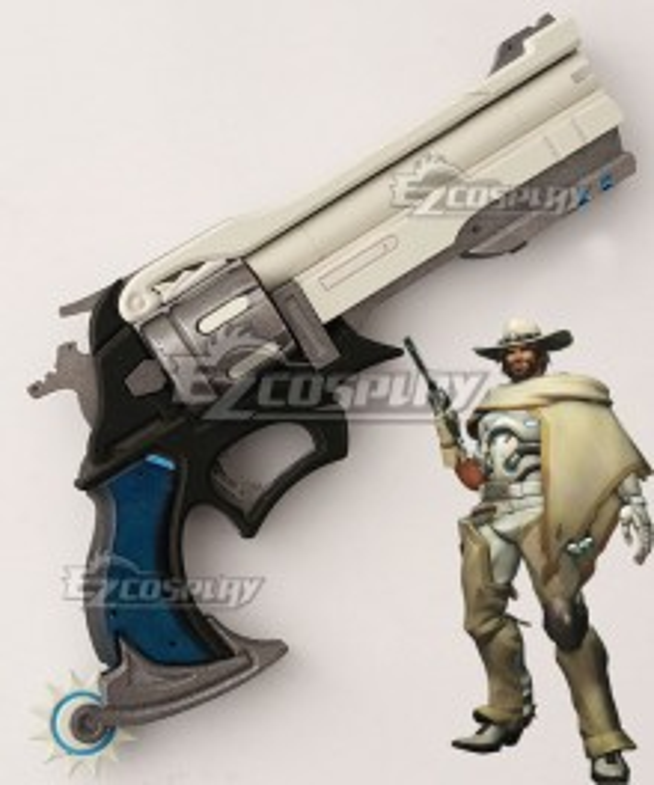 Overwatch OW Jesse McCree White Hat Gun Cosplay Weapon Prop