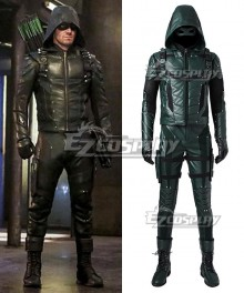 DC Comics Green Arrow Season 5 Oliver Queen Arrow Cosplay Costume - Including Boots