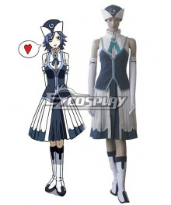 Fairy Tail Rain Woman Juvia Lockser Blue Evening Dress Cosplay Costume
