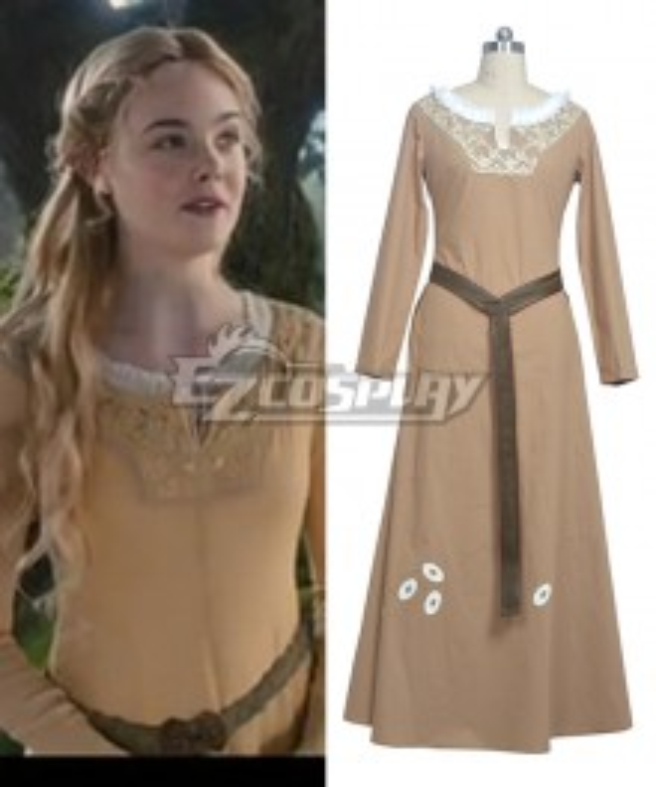 Maleficent Princess  Aurora Daily Brown Dress Cosplay Costume