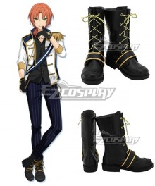 Ensemble Stars Knights Tsukinaga Leo Black Shoes Cosplay Boots