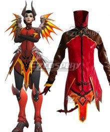 Overwatch OW Mercy Devil Outfit Halloween Cosplay Costume - Only Top, Black Pants Gloves