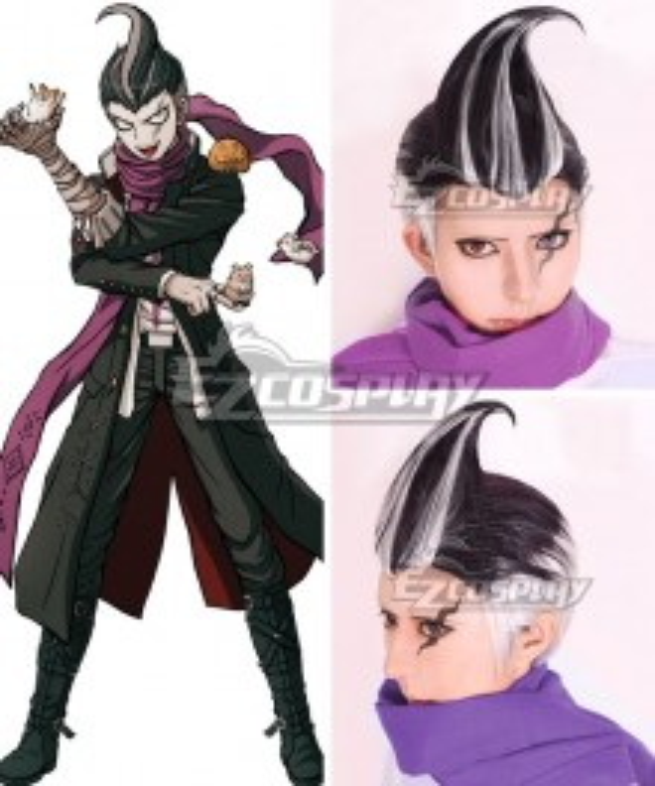 Danganronpa: Trigger Happy Havoc Gundham Tanaka Black White Cosplay Wig