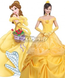 Disney Beauty and The Beast Belle Yellow Dress Cosplay Costume - B Edition