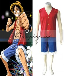One Piece Luffy Cosplay Costume - Vest only
