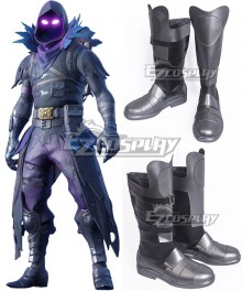 Fortnite Battle Royale Raven Silver Shoes Cosplay Boots