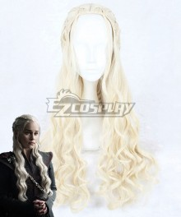Game of Thrones Season 7 Daenerys Targaryen Light Golden Cosplay Wig